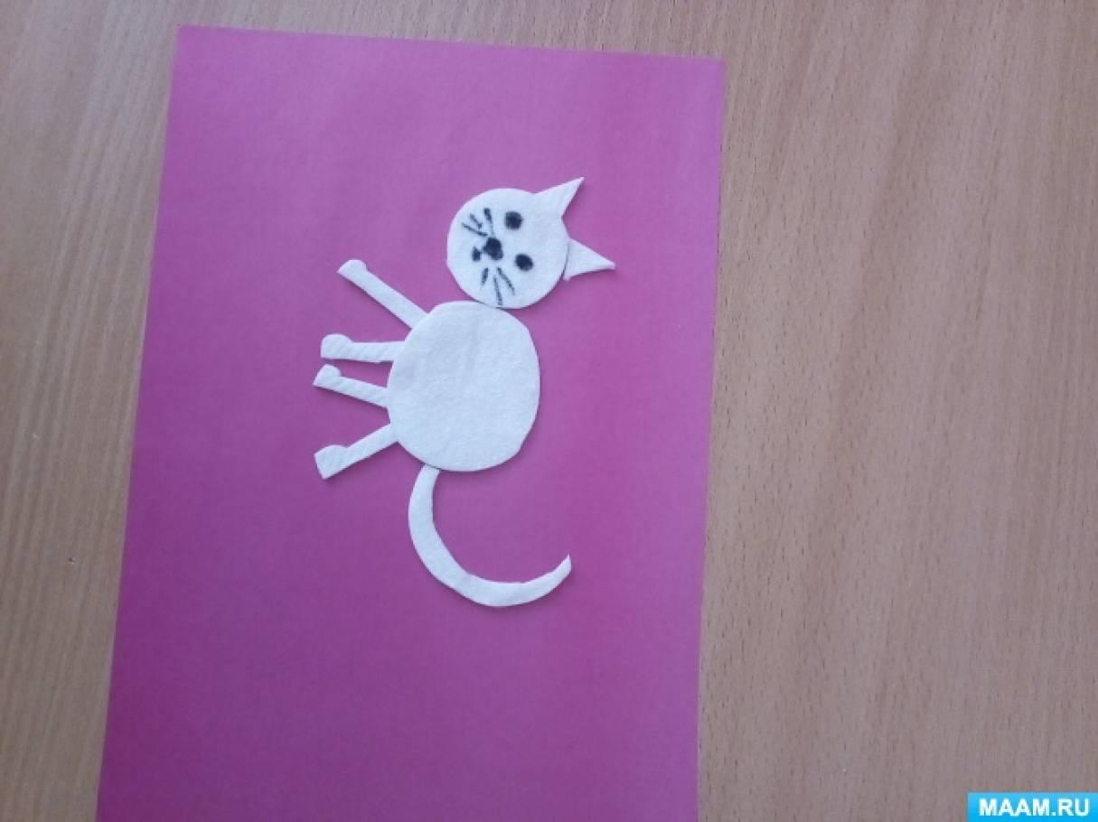 Мастер-класс «Пушистый котенок из ватных дисков»