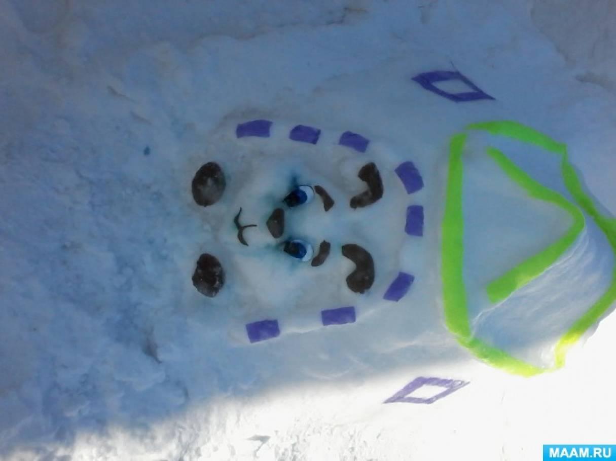 Оформление зимнего участка снежными скульптурами «В гостях у домашних животных. Собака и кошка из снега»