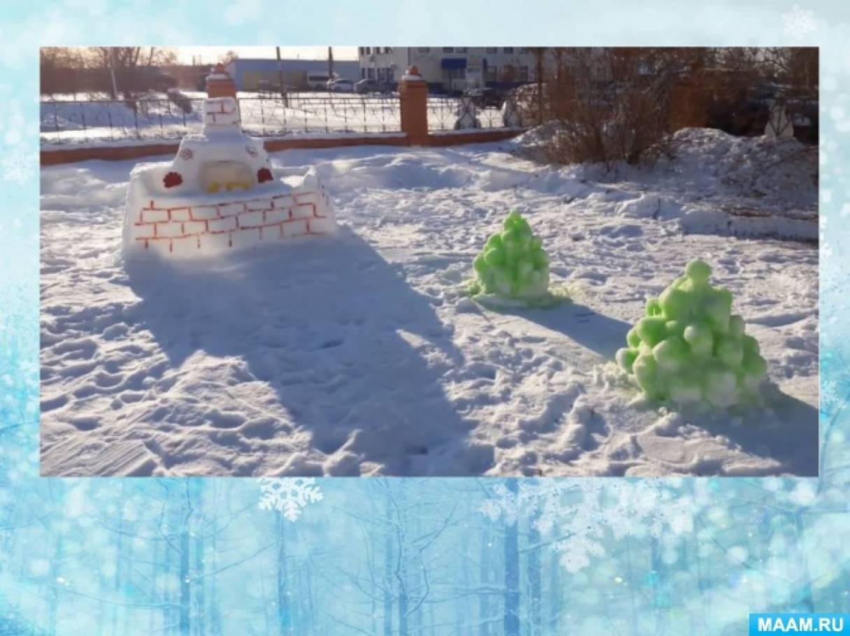Зимнее оформление участка в Огневском детском саду «Огонек»