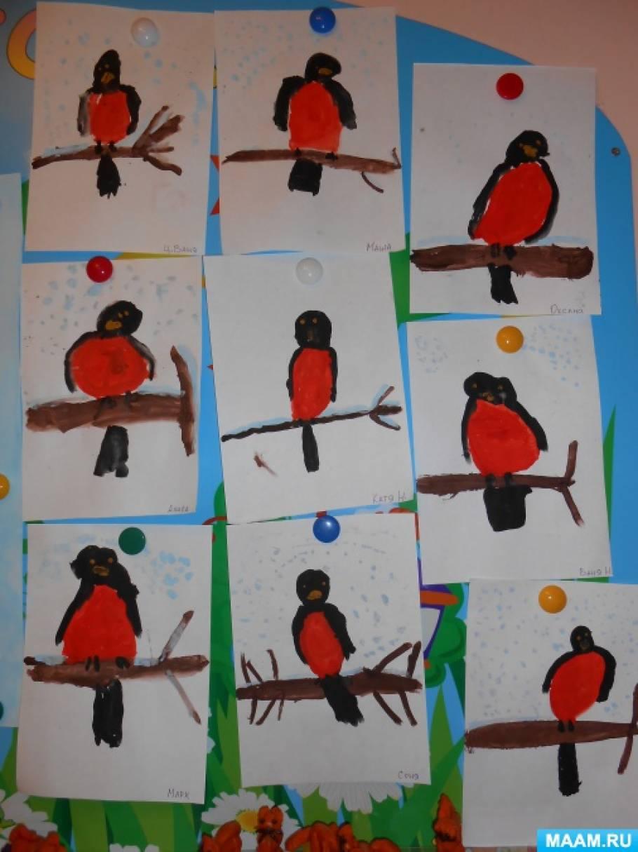 Конспект НОД по рисованию в средней группе «Выбегай поскорей посмотреть на снегирей»