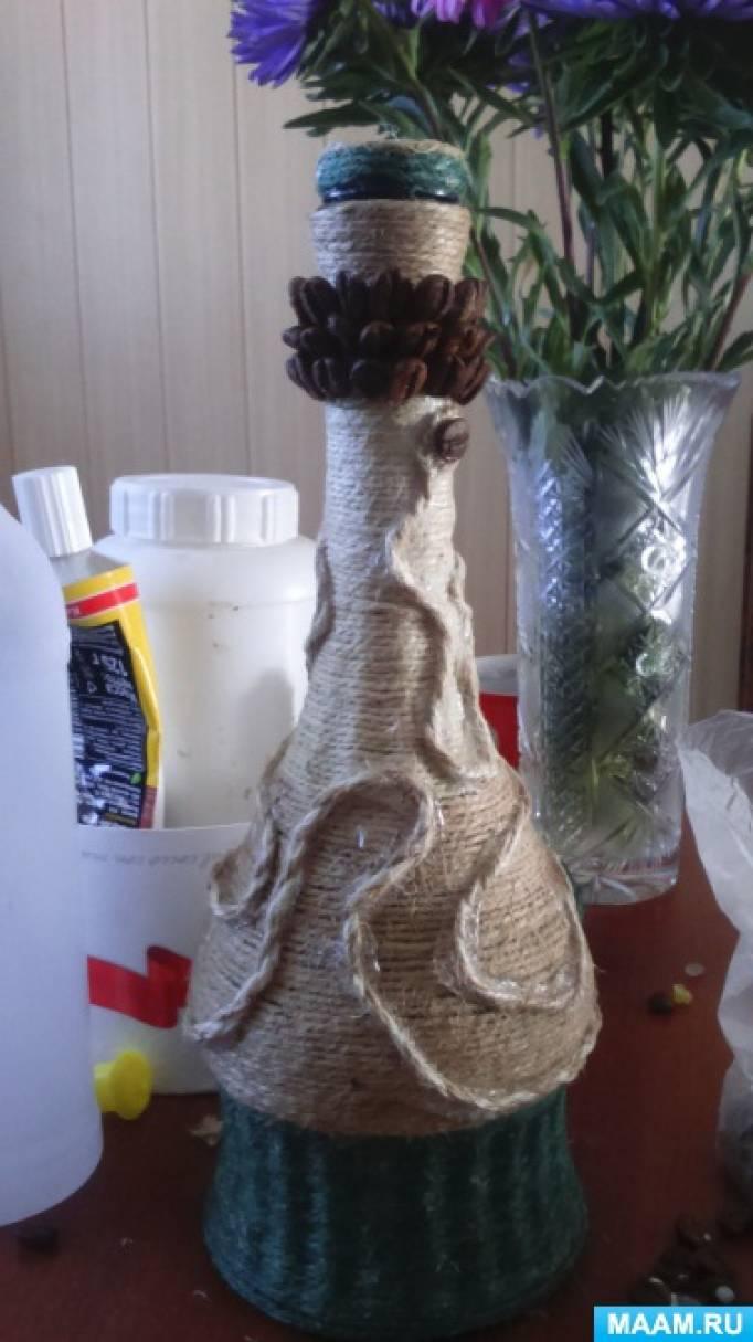 Бутылка шпагатом мастер класс