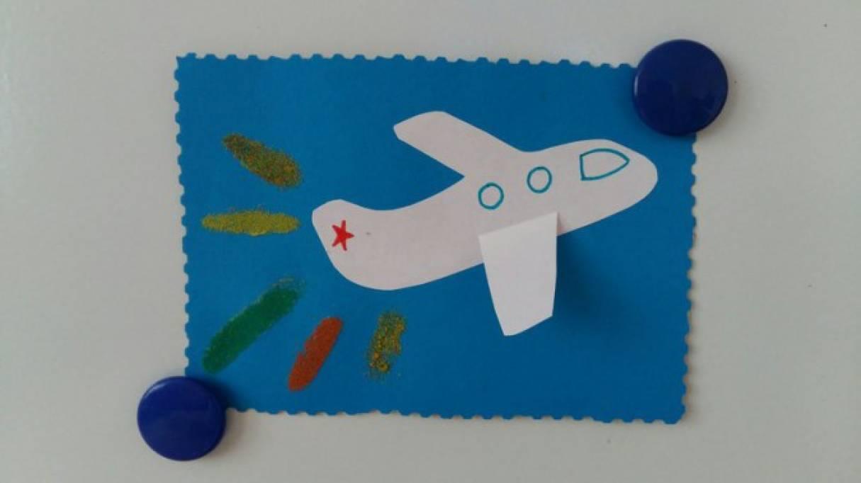 Аппликация с использованием цветного песка «Взлетающий самолетик»