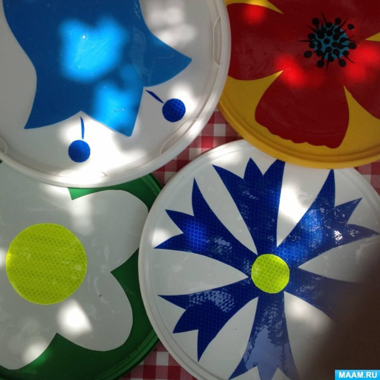 Оформление участка к лету. МК «Диски с цветами»