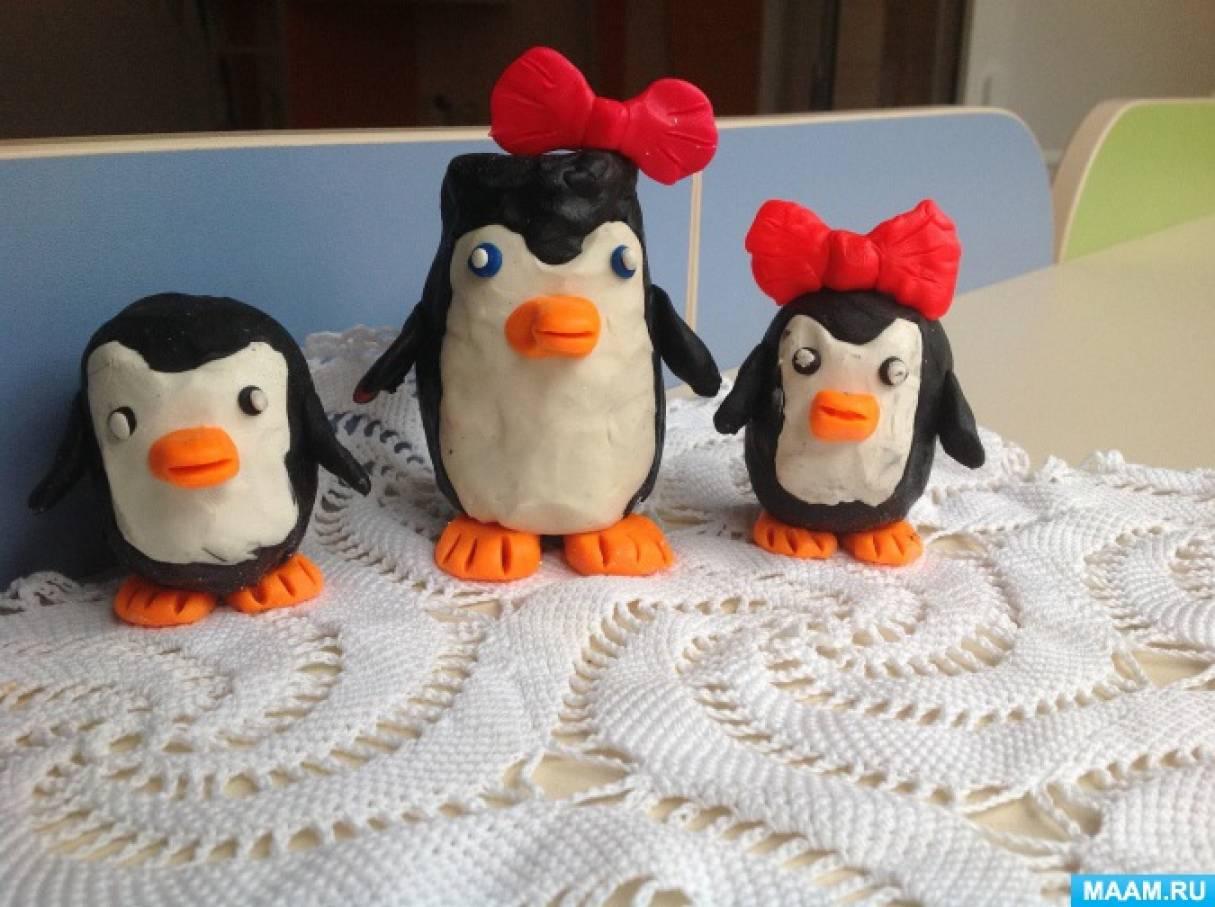 Детский мастер-класс «Пингвины в технике пластилинография»