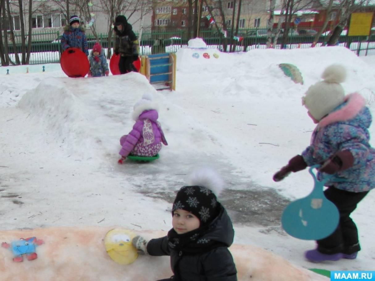 Снежный городок на участке детского сада