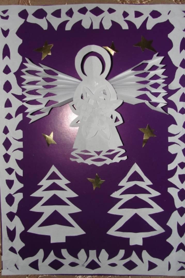 Открытка к Рождеству «Ангелочек на счастье». Мастер-класс