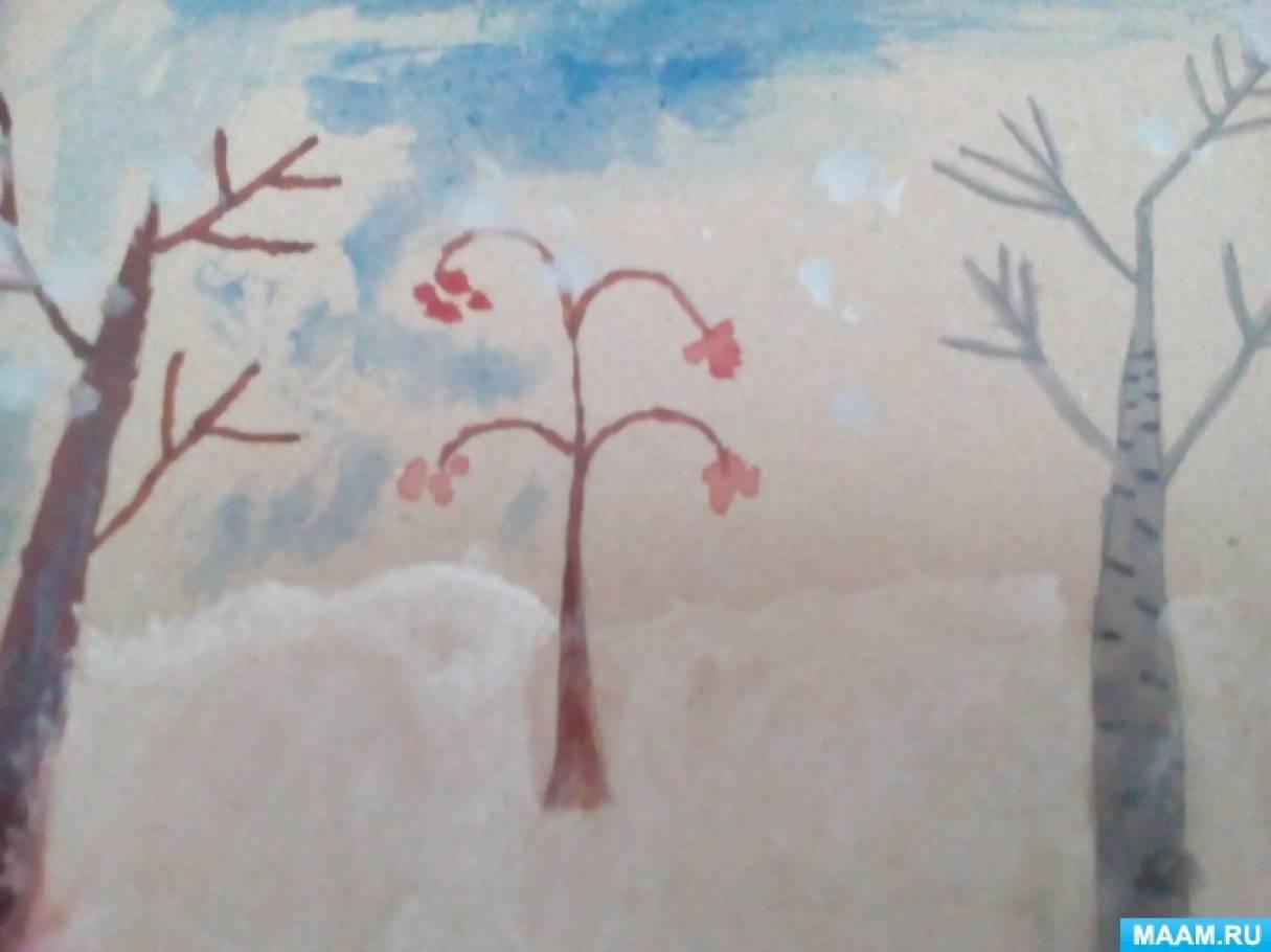 Конспект НОД по рисованию «Зимний пейзаж» в подготовительной группе