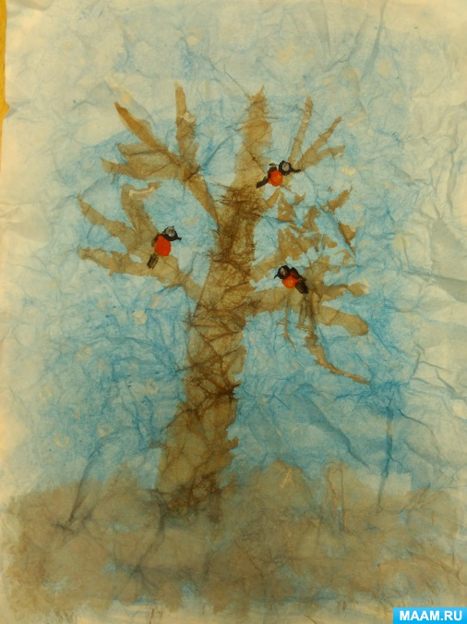 Конспект НОД по изобразительной деятельности с использованием нетрадиционных техник рисования по мятой бумаге «Зимнее дерево»