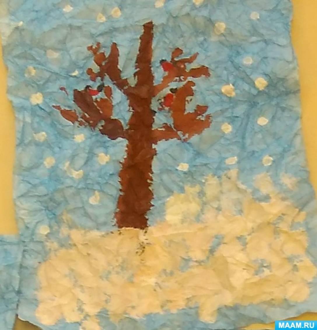 Снежное дерево рисунок оттиск смятой бумаги
