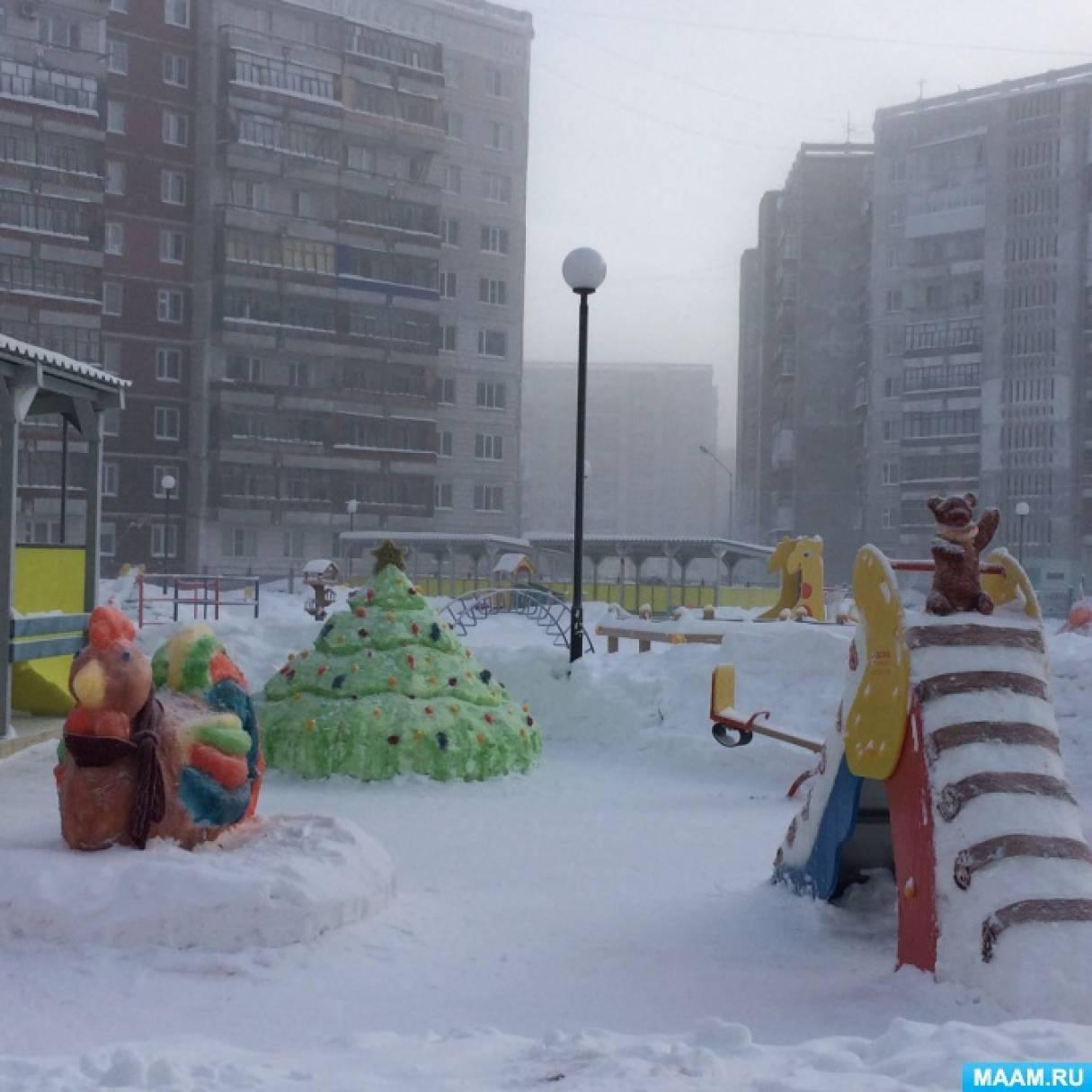 Оформление зимнего участка по мотивам русской народной сказки «Заюшкина избушка»
