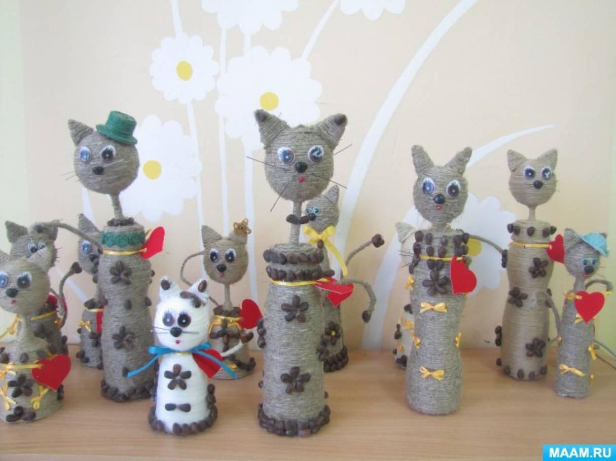 Коты из бутылки и шпагата своими руками