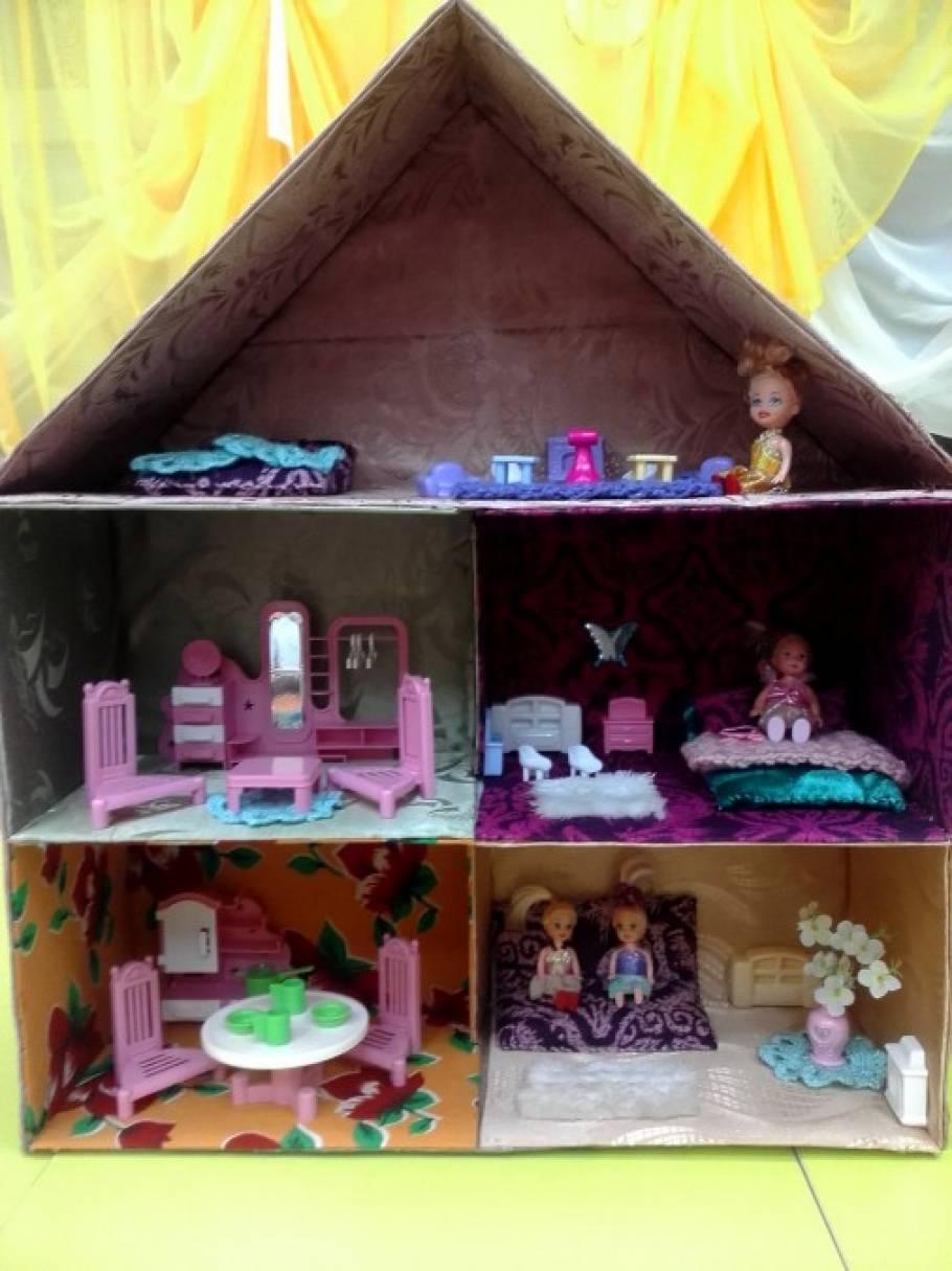 Как сделать кукольный домик из картона своими руками