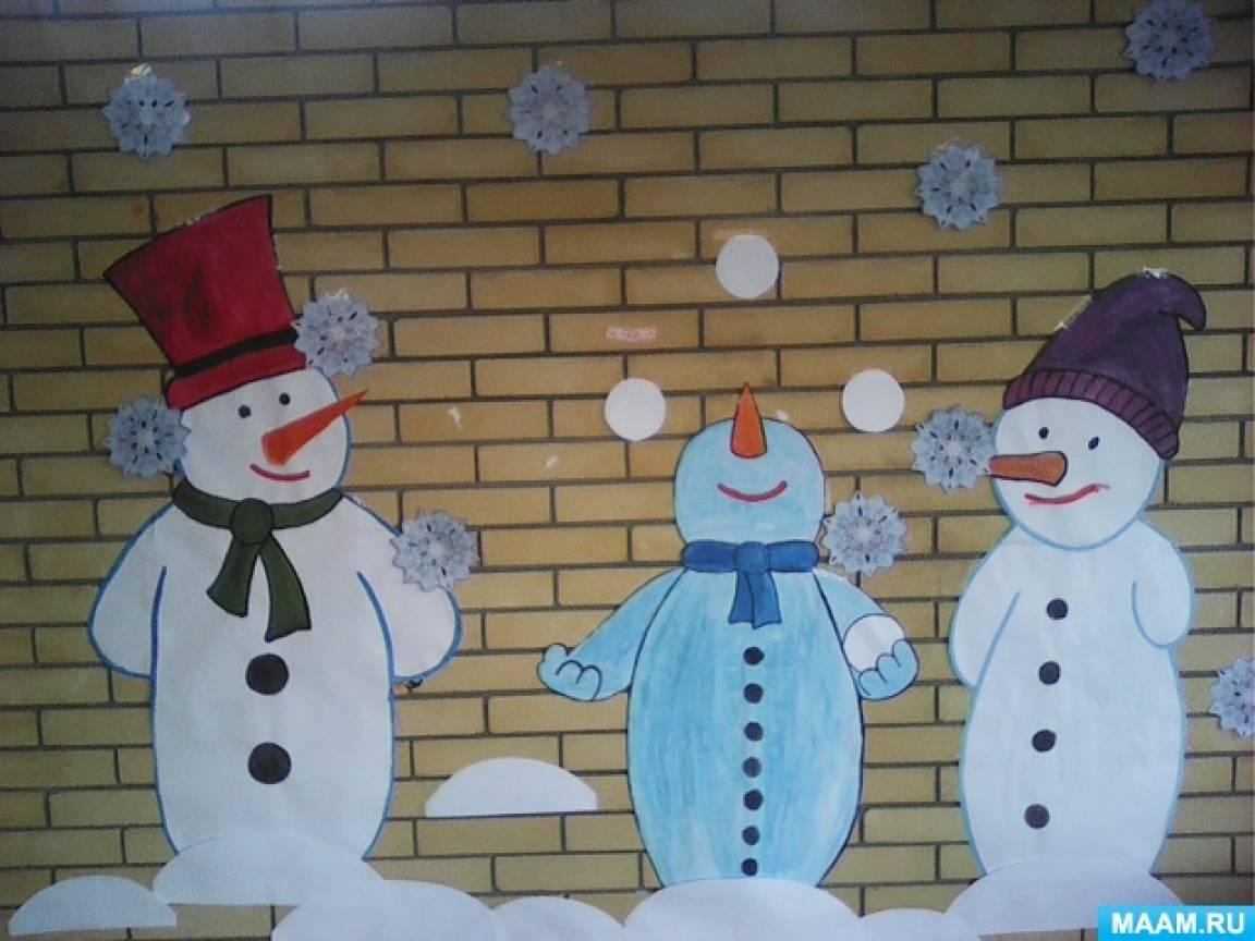 Новогоднее оформление веранды «Веселые снеговички»