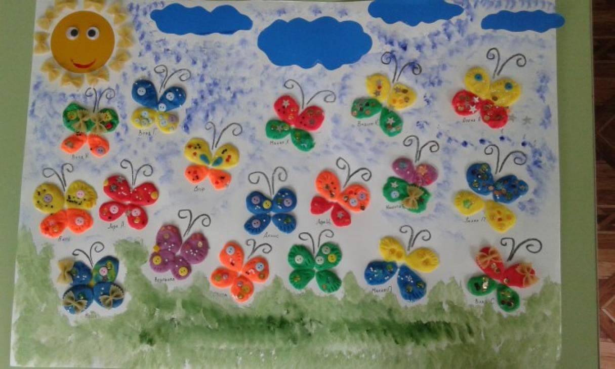 Коллективная работа «Красивые бабочки» лепка из теста