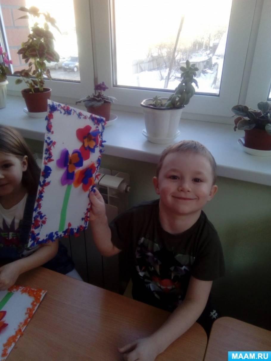 Мастер-класс по изготовлению открытки к 8 марта из гофрированной бумаги «Цветы»