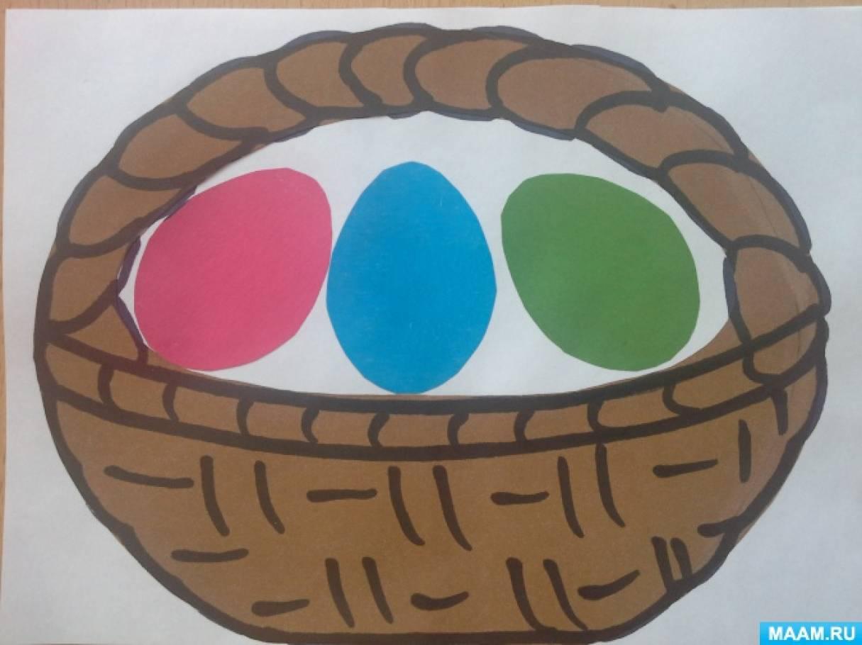 Конспект интегрированной ОД по аппликации «Корзинка с пасхальными яйцами» во второй младшей группе.