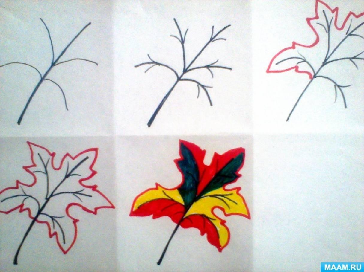Мастер-класс «Поэтапное рисование осеннего кленового листа»