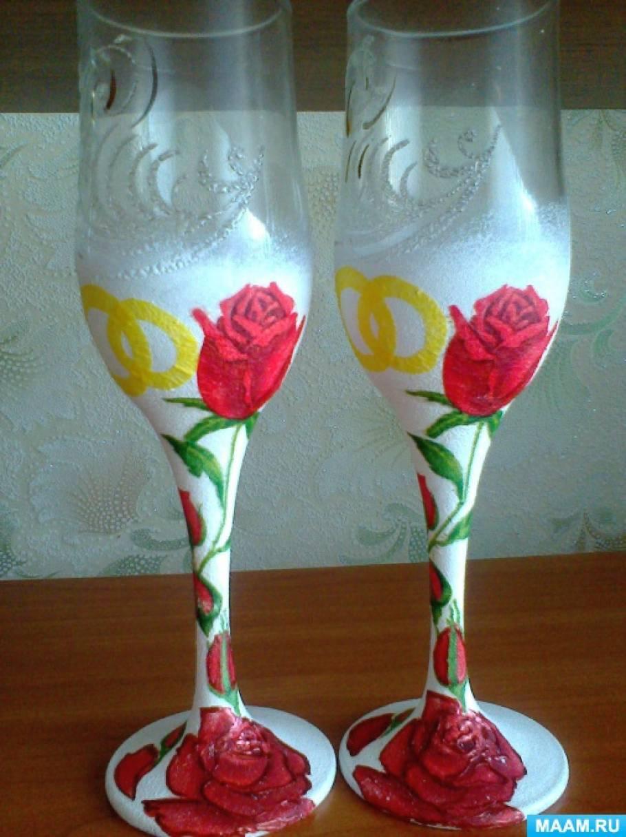 Декорирование свадебных бокалов и бутылок