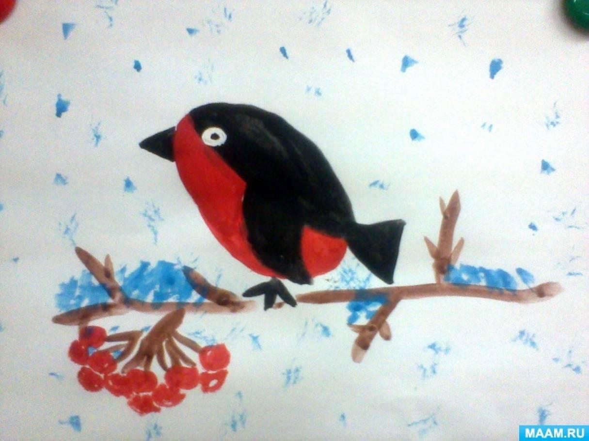 Фотоотчет о занятии по рисованию с детьми 5–6 лет «Снегирь на ветке»