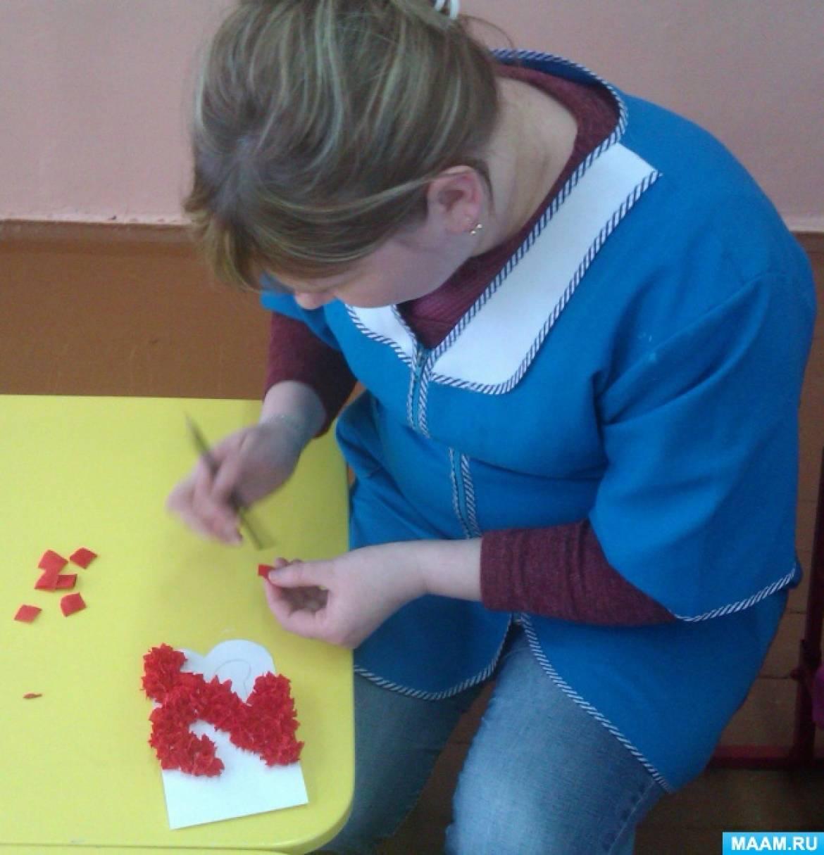 Фотоотчёт о проведении занятия по аппликации с детьми 5–7 лет «Открытка для защитников Отечества»