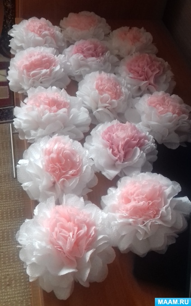 из каких салфеток делать цветы пионы фото нее