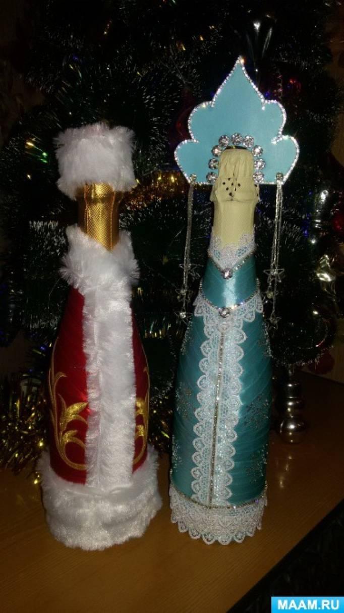 Новогоднее декорирование бутылок