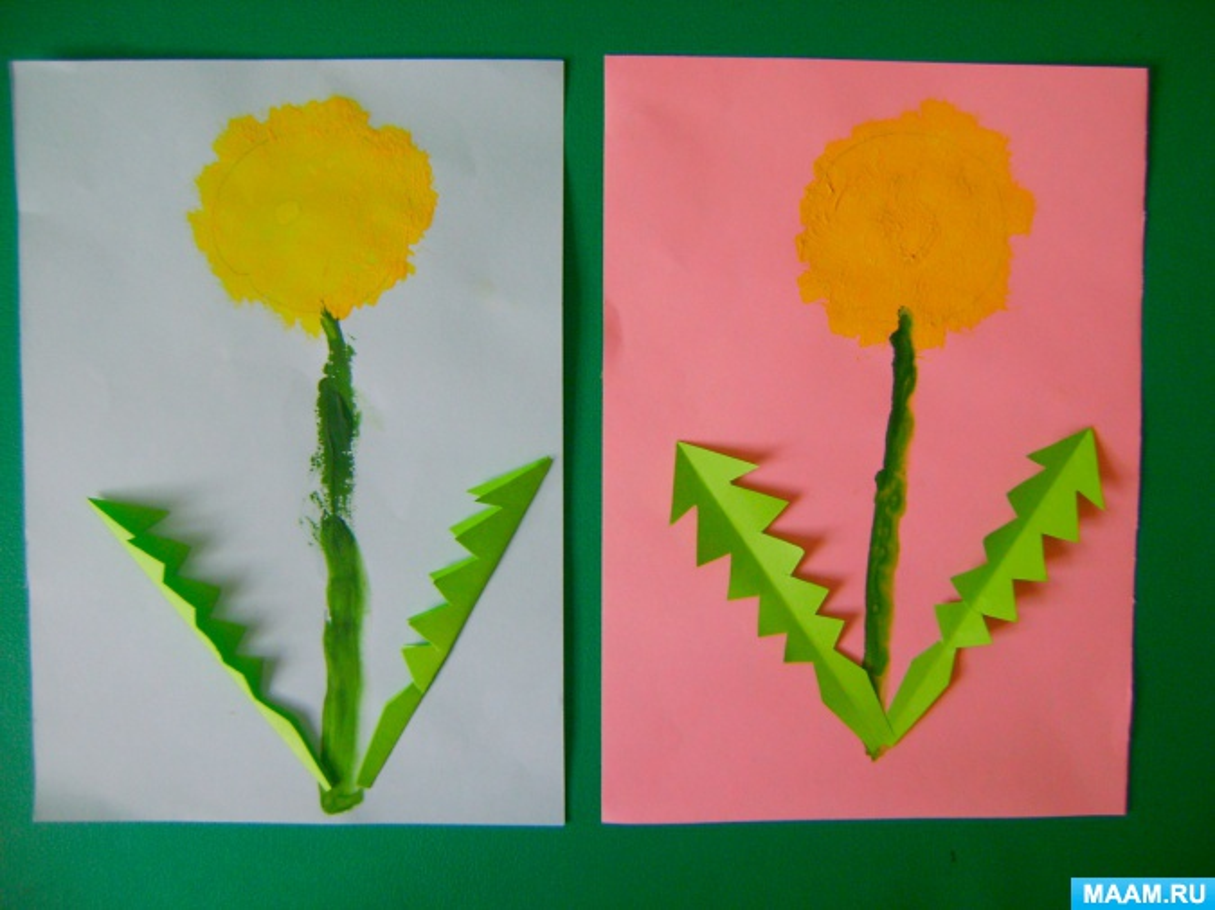 Фотоотчёт о творческих работах по рисованию с элементами аппликации «Одуванчики»