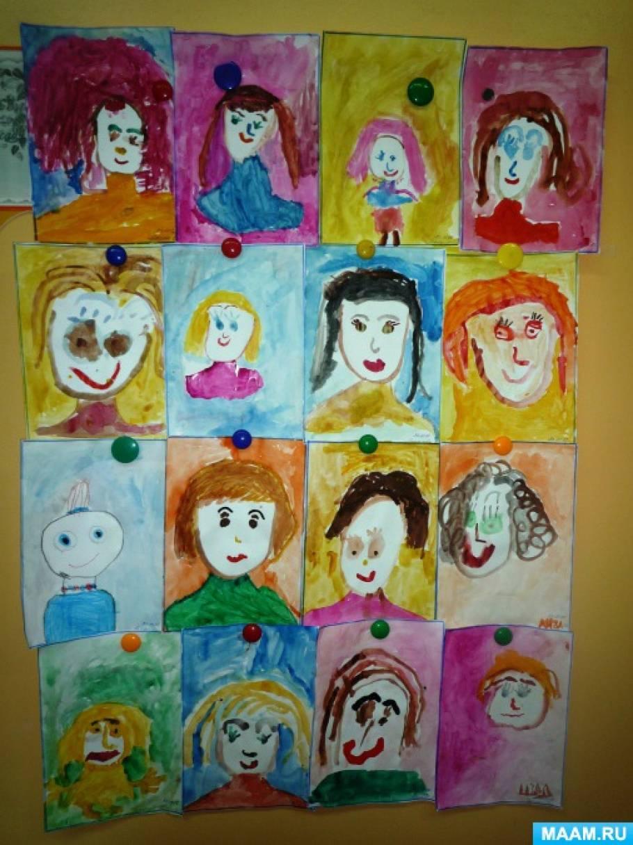 Фотоотчёт о рисовании «Мамин портрет»