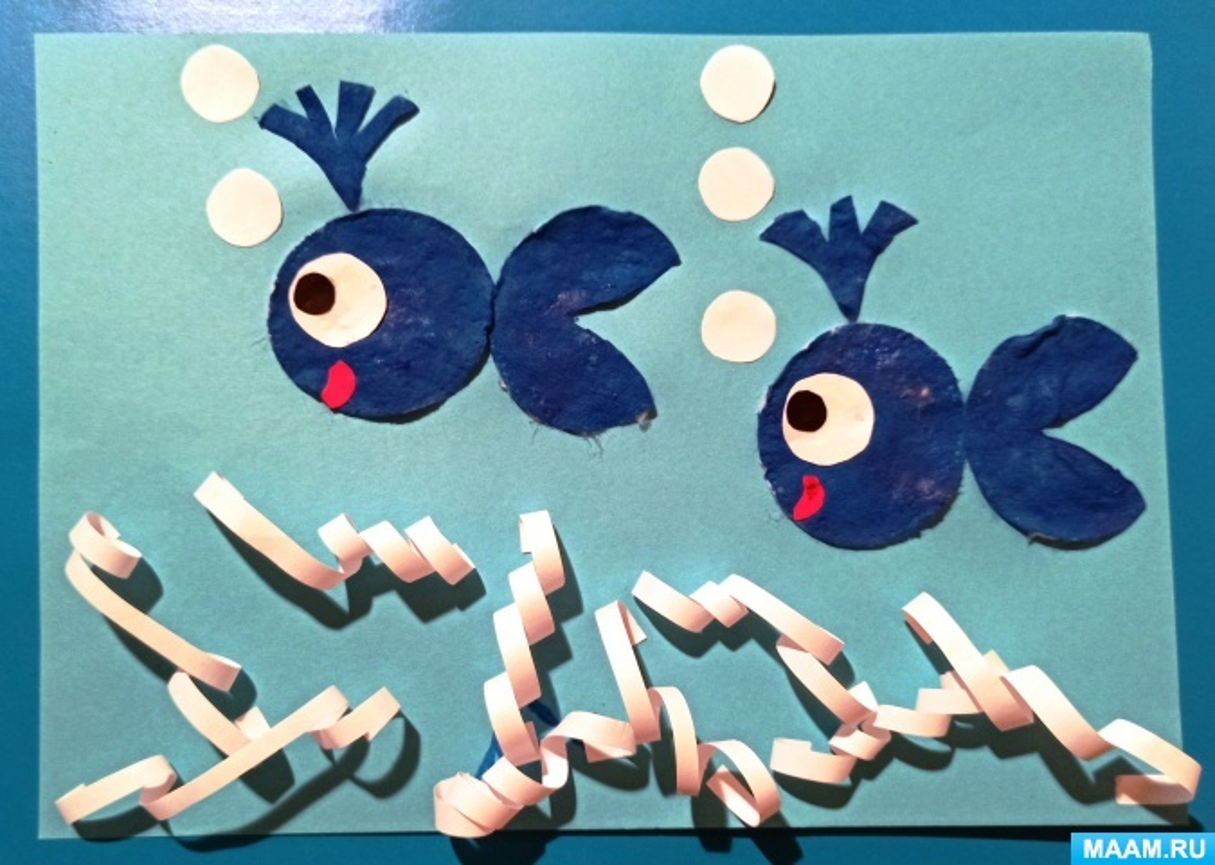 Аппликация «Два китенка» из ватных дисков для детей старшей группы детского сада. Мастер-класс с пошаговыми фото