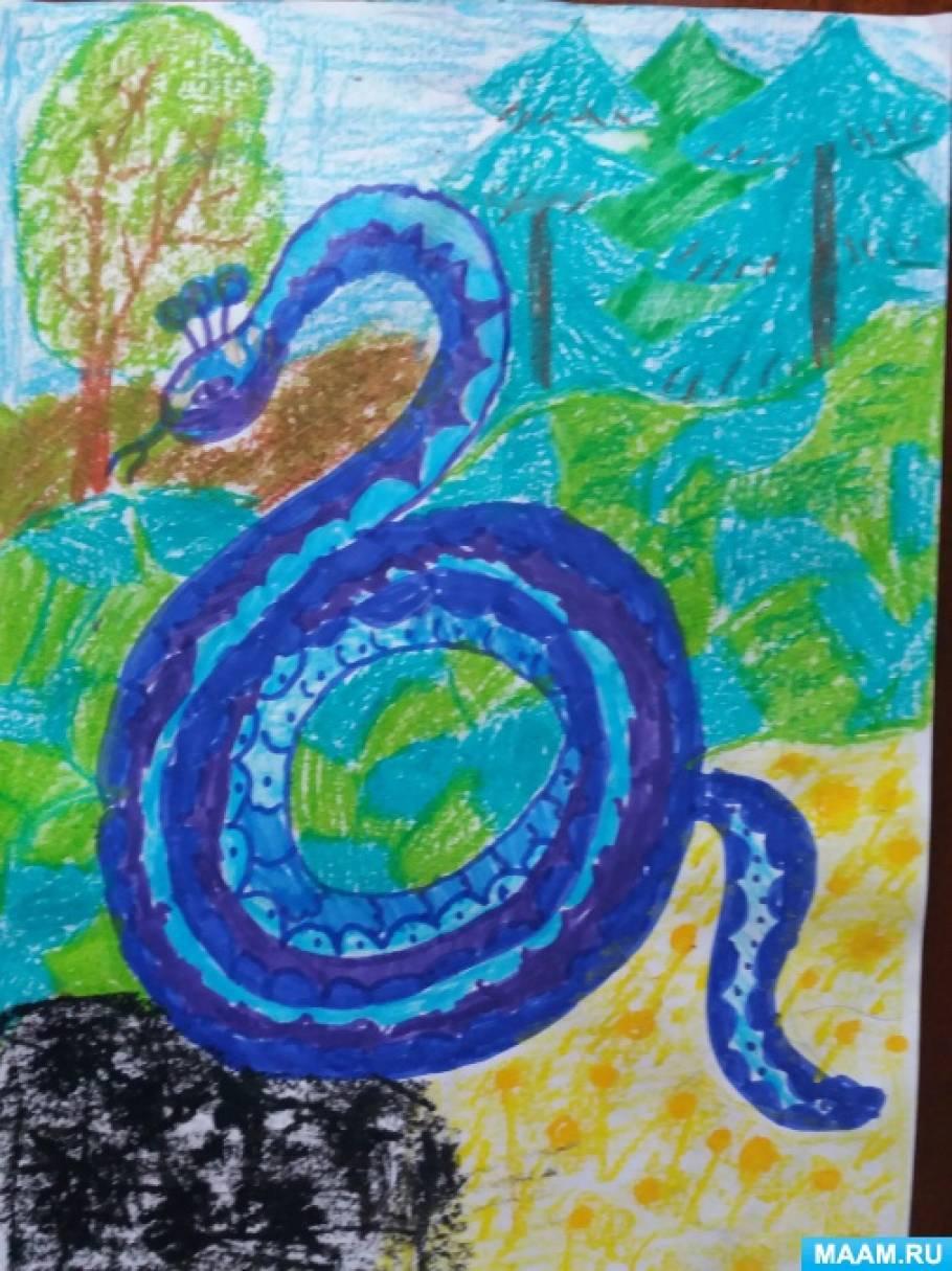примеру, рисунки к сказке голубая змейка территории отеля