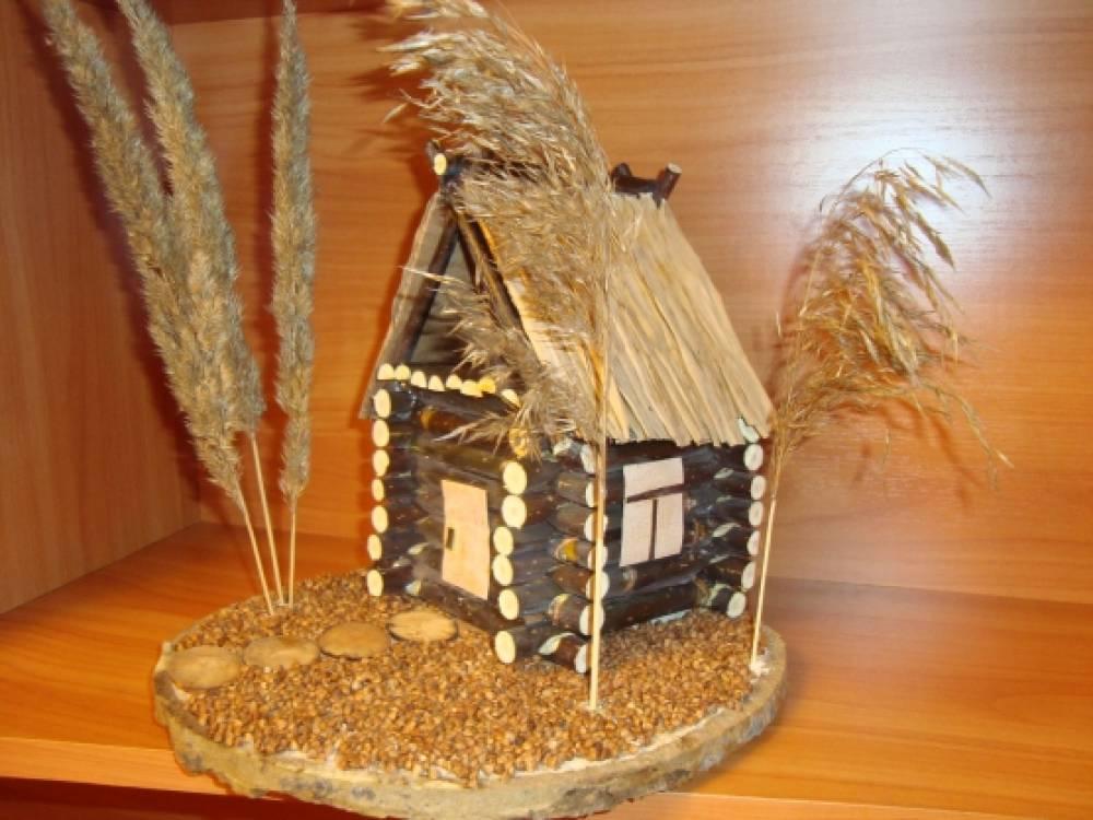 Лесной домик поделка из природного материала 75