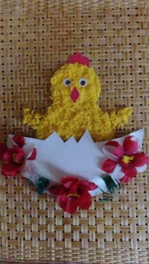 Мастер-класс поделки из бумажной тарелки «Пасхальный цыплёнок»