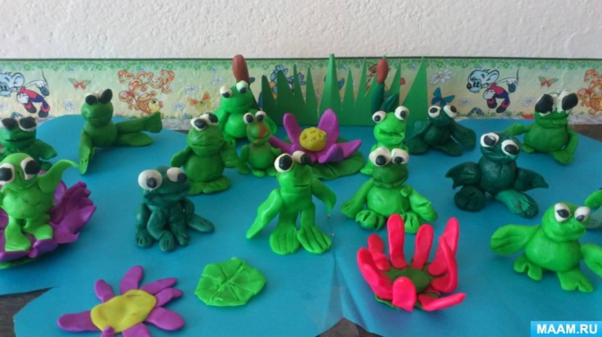 Коллективная работа по лепке «Весёлые лягушата»
