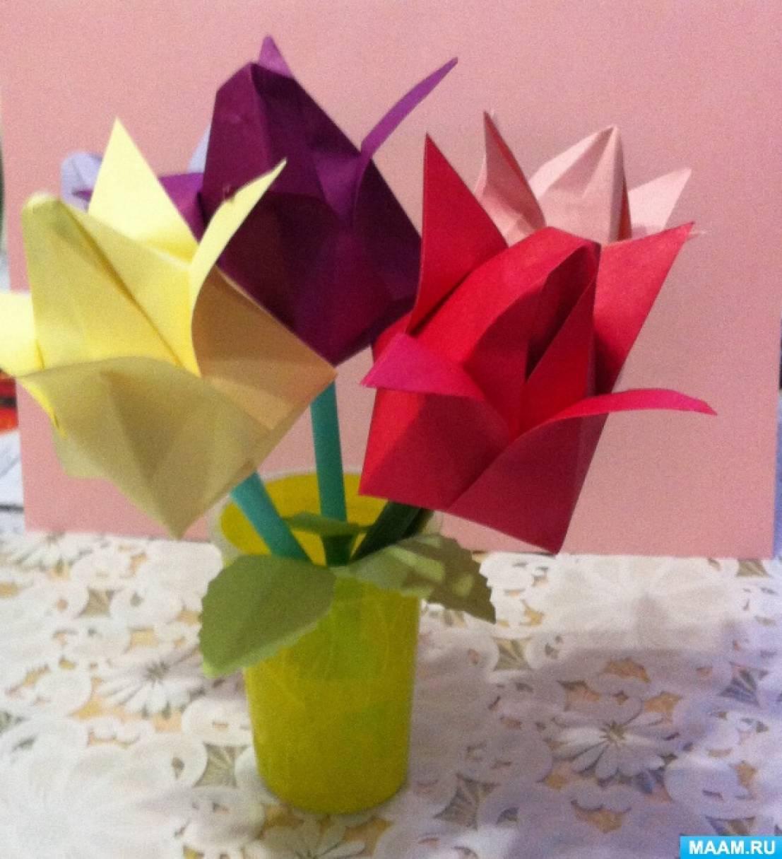 Мастер-класс по изготовлению цветов из бумаги. Тюльпаны для мамы в технике оригами