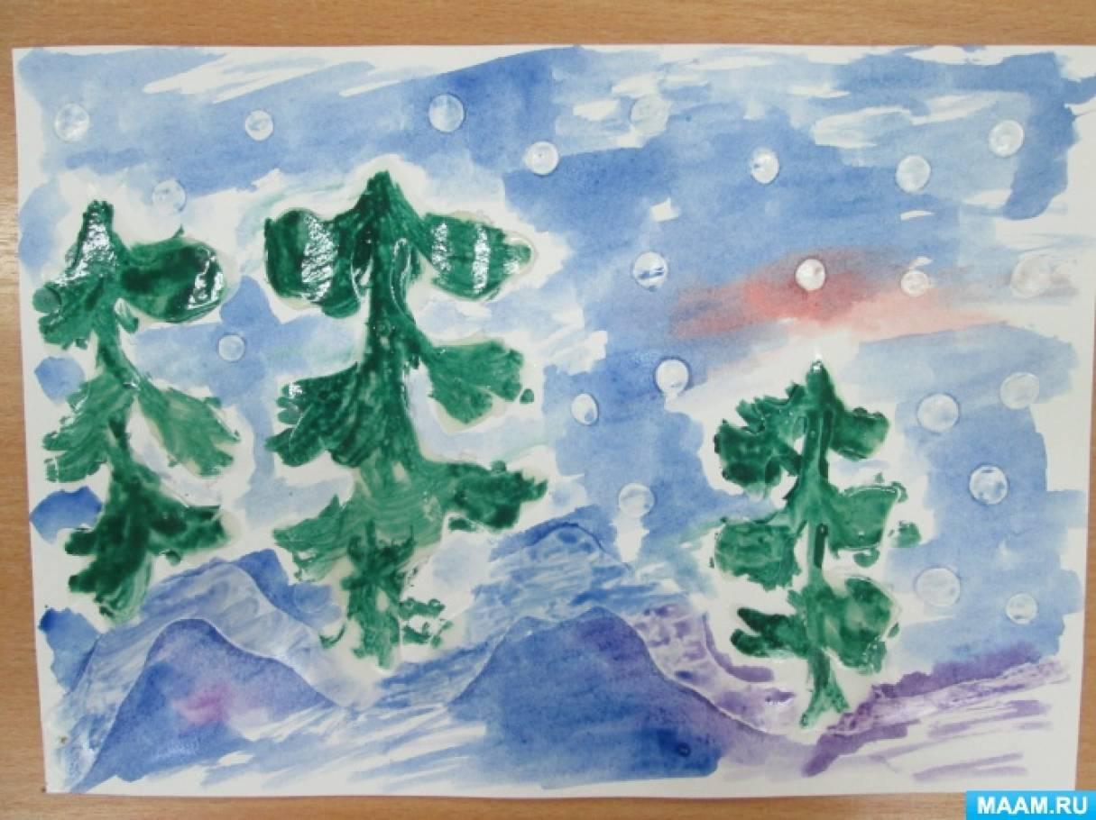 «Как зимуют деревья?»— детский мастер-класс (нетрадиционная техника рисования для детей подготовительной группы).