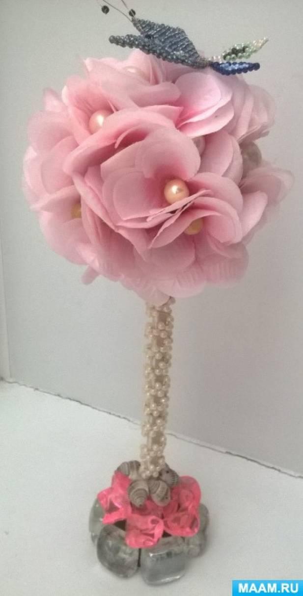 Мастер-класс «Топиарий из розовых цветов»