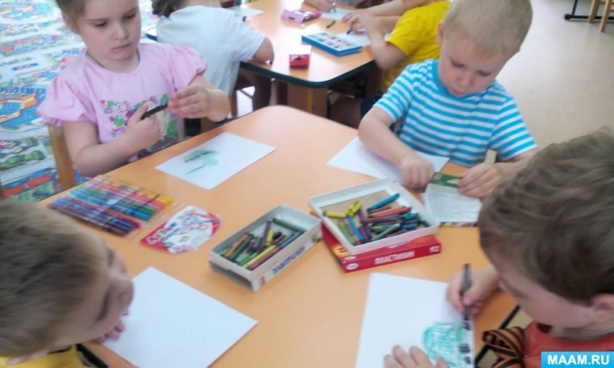 Фотоотчет о занятии по рисованию «Танк» во второй младшей группе