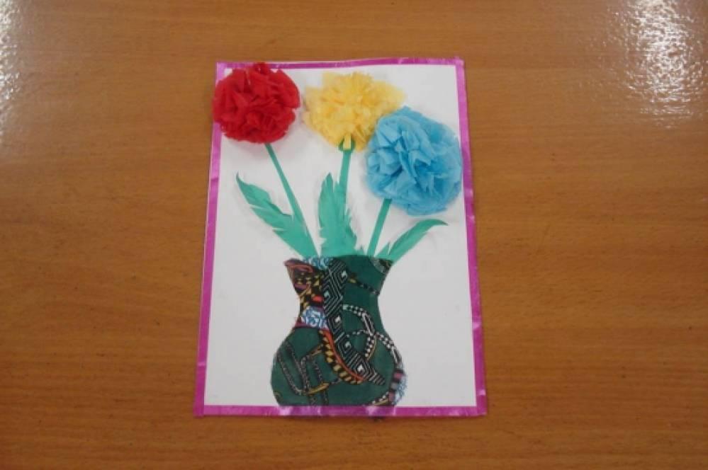 Аппликация в средней группе открытка для мамы на 8 марта, про ваню картинка
