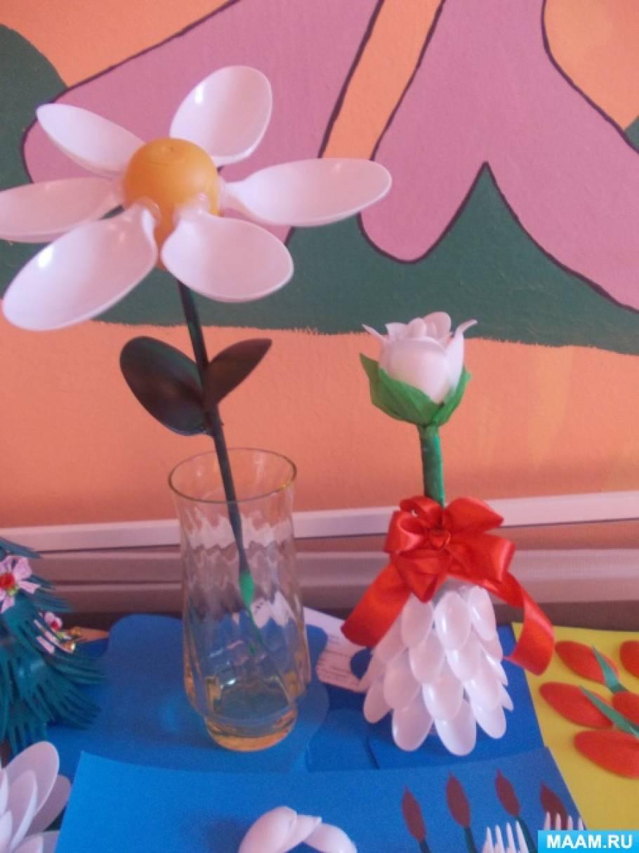Поделка в садик из пластиковых ложек