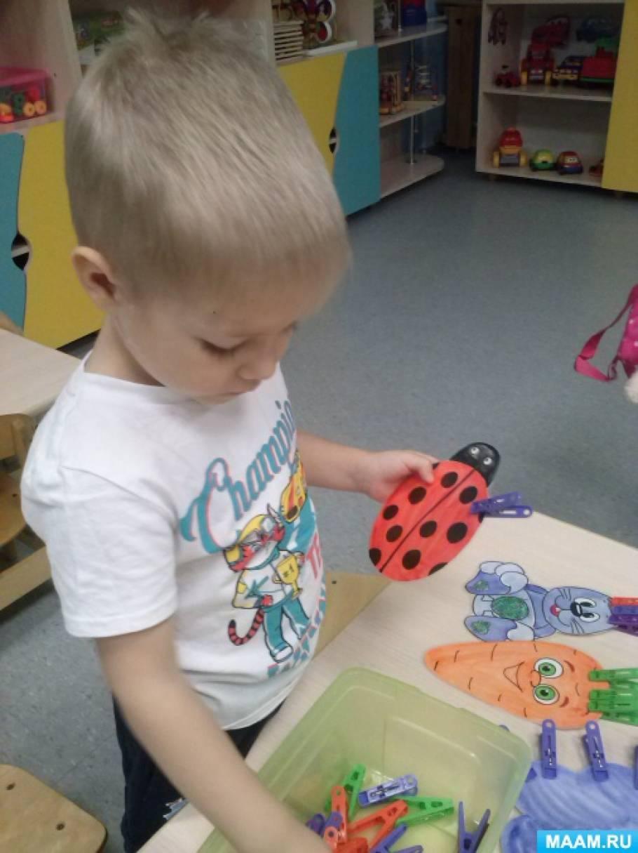 Игра с разноцветными прищепками по сенсорному развитию для детей раннего возраста