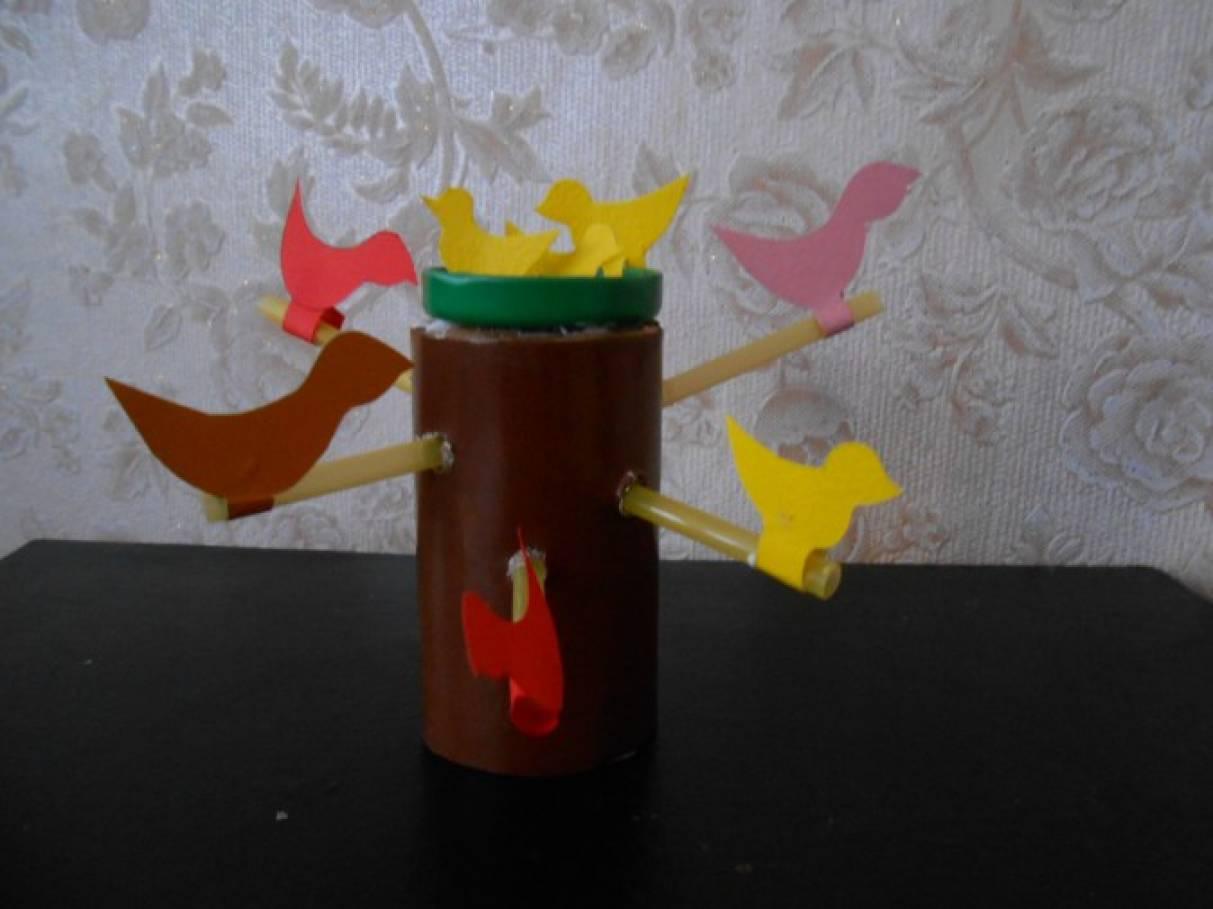 Мастер-класс поделки из бросового материала «Птичья семейка»