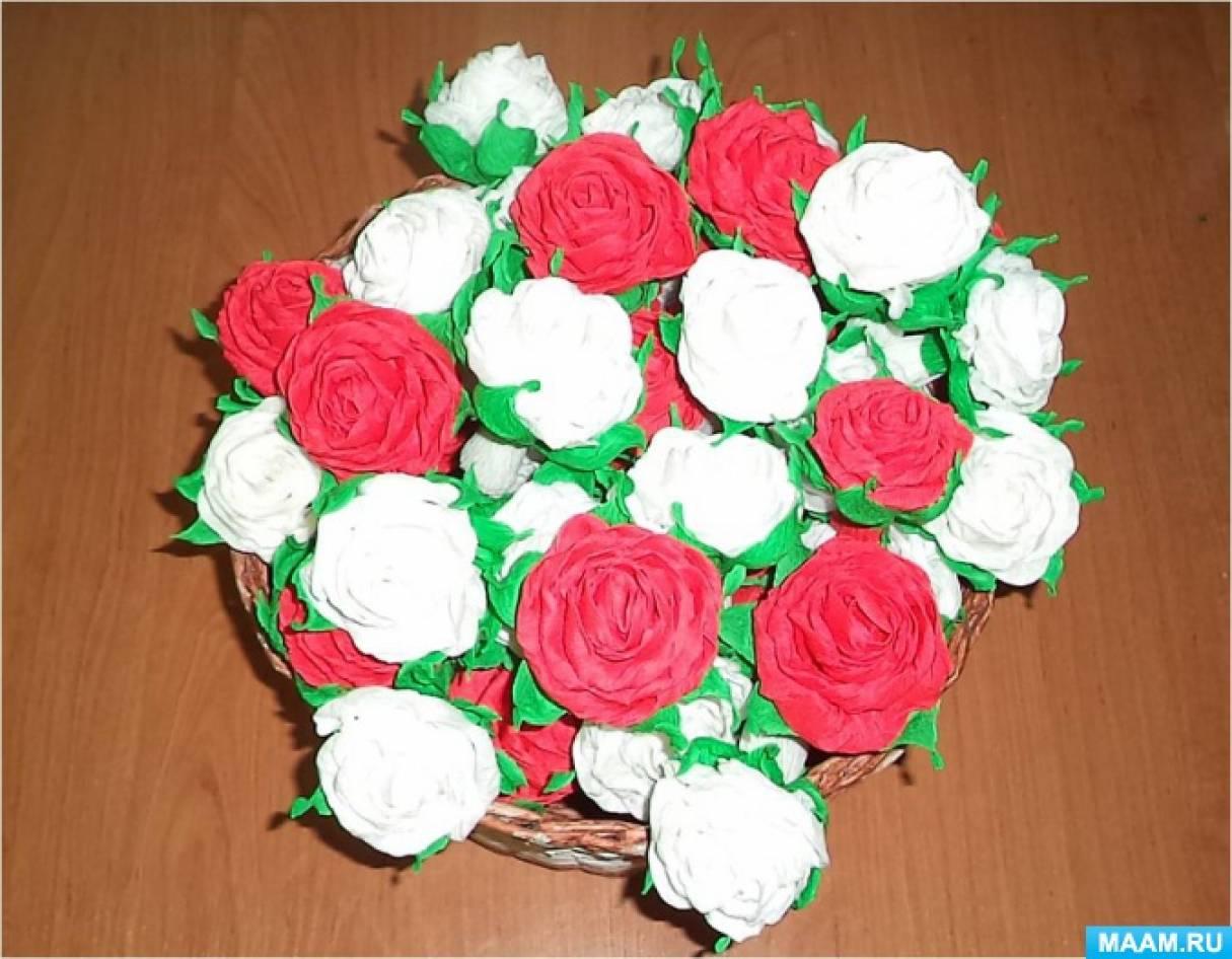Мастер-класс по изготовлению цветов из гофрированной бумаги «Букет роз»