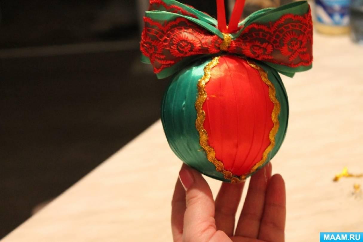 Мастер-класс по изготовлению новогоднего шара «Пуансеттия из лент»