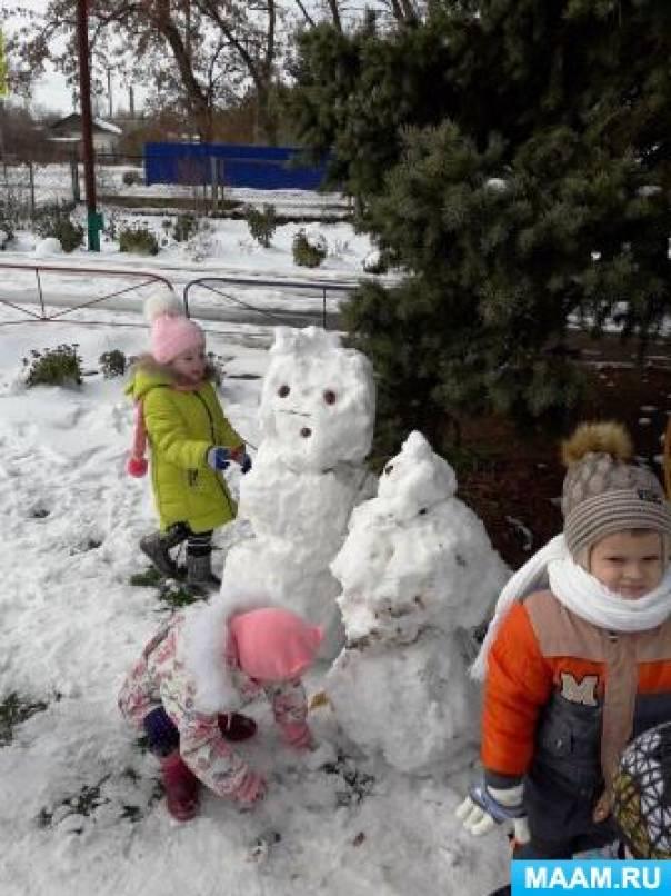 Фотоотчет о прогулке «Первый снег — светлый снег, как же радует он всех»