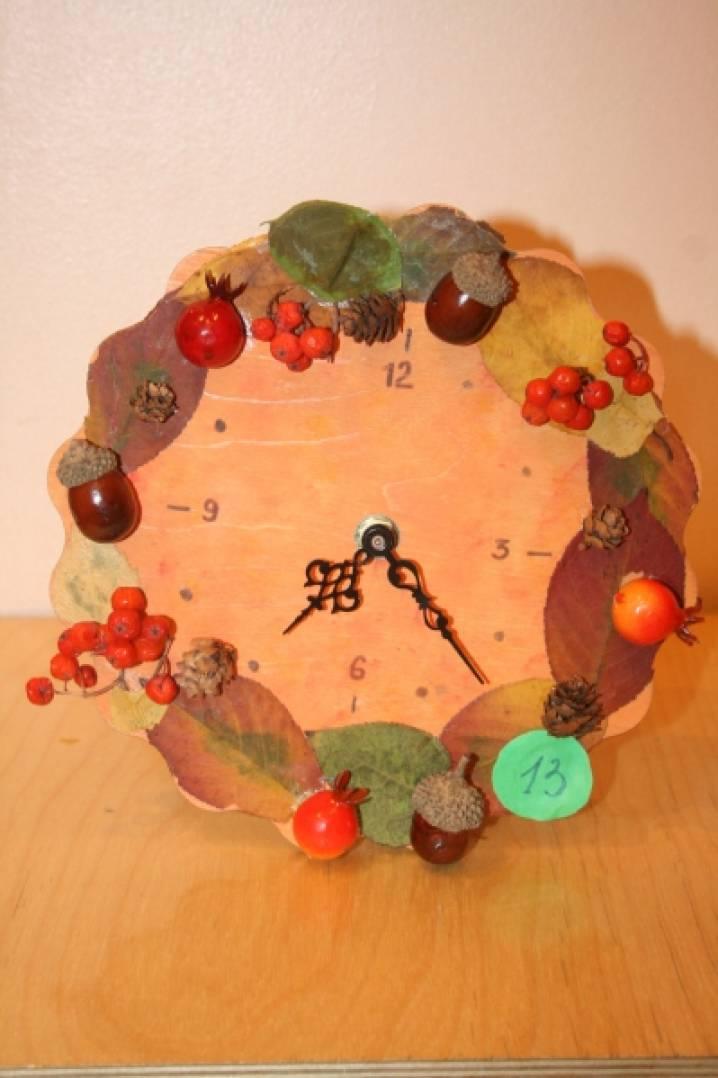 Часы из природного материала своими руками на тему осень 2