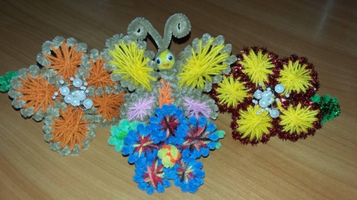 Мастер-класс поделки из синельной проволоки в нетрадиционной технике ганутель «Цветочек и бабочка-красавица»