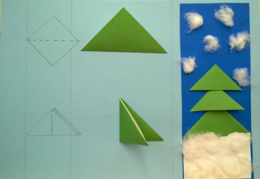 Оригами дерево в средней группе