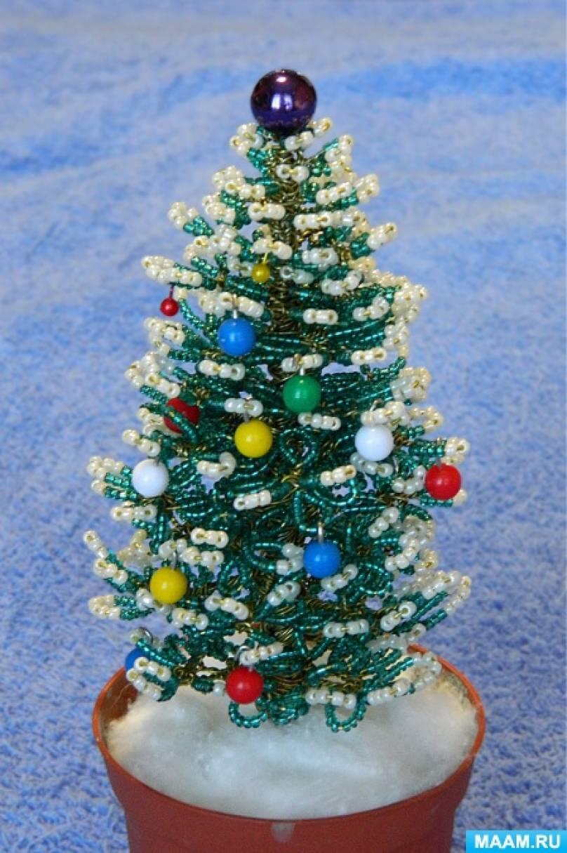 Новогодняя ёлочка из бисера и канцелярских гвоздиков