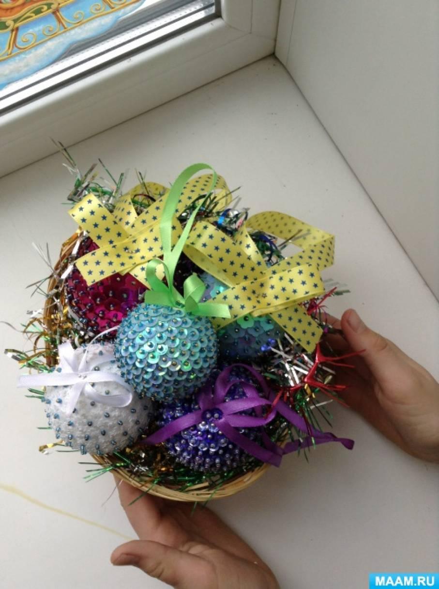 Новогодние шары из пенопласта своими руками