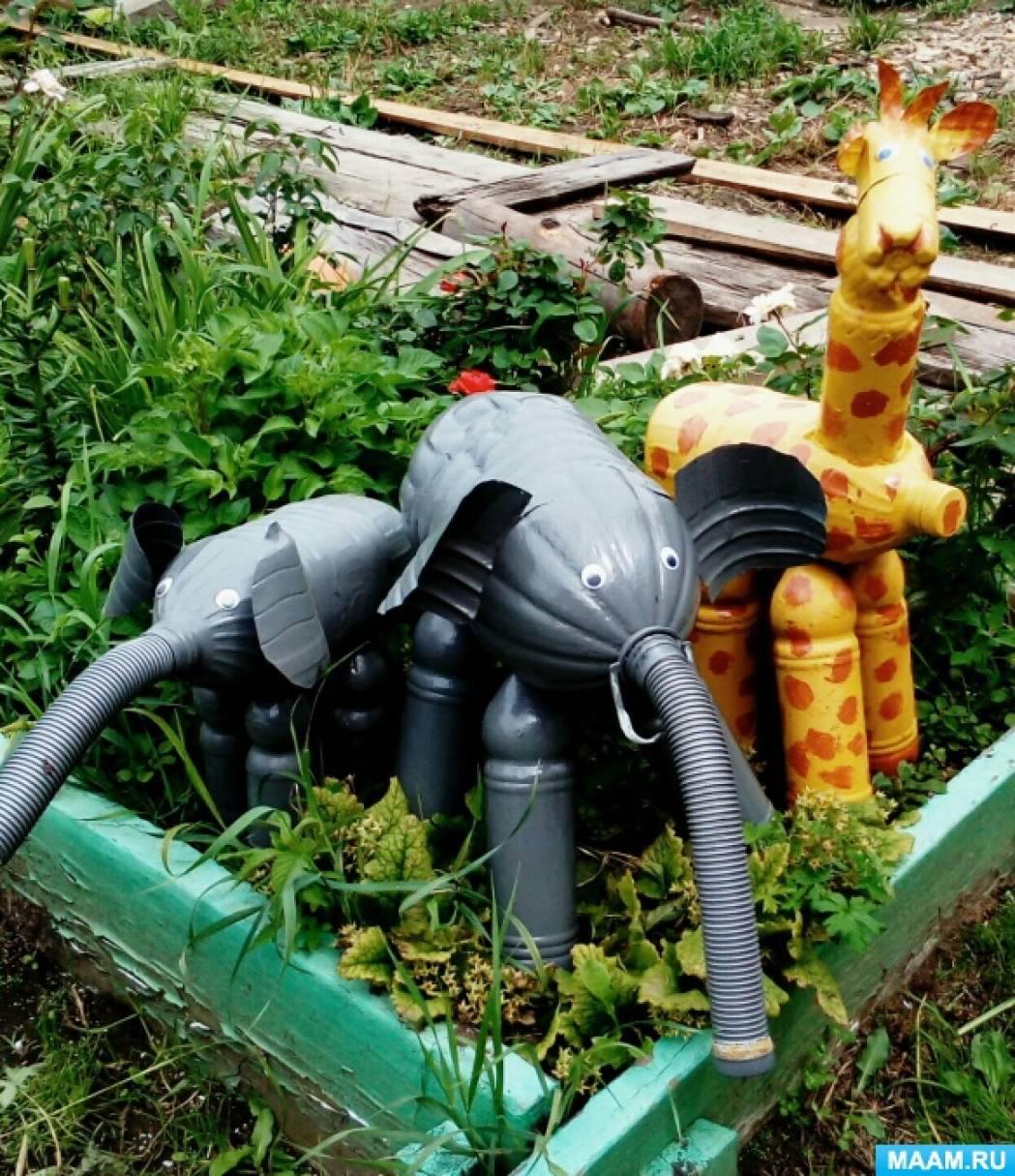 Мастер-класс. Слон из пластиковых бутылок, для участка детского сада.
